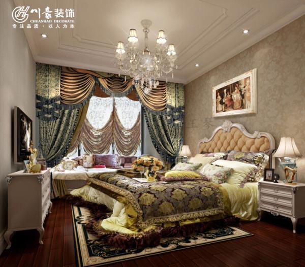 天下锦城二期95㎡欧式风格装修设计,卧室效果图。