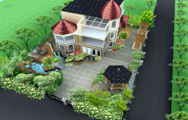 别墅外观俯视图