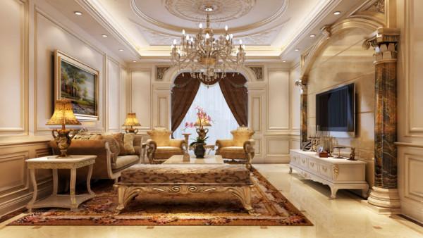 此户型利用有限的房高以及描金的石膏线来提现出法式宫廷的一种奢华的感 觉,订制的天然石材的纯度及纹理与地面的地砖很好的结合到了一起,局部的铜雕点缀为法 式宫廷风格添加了一笔不可缺少的元素。