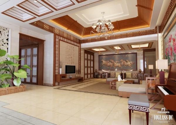 客厅中增加了奔马图腾、中式壁画和绿色植物。同时辅以规整的线条进行空间的分割与装饰,使得整个客厅大气优雅,在狂野的风情中增加一份豪华与冷静,设计以不矫揉造作,使人感到既创新独特又似曾相识。