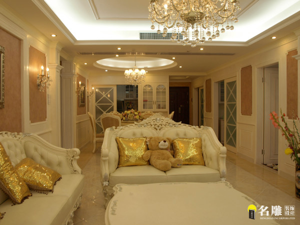 名雕装饰设计——鸿景翠峰——简欧三居室——客厅