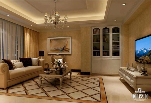 实木的电视柜便是这个空间中的亮点,利用新古典主义风格常用的花纹,做地柜设计,实用而不失美观。