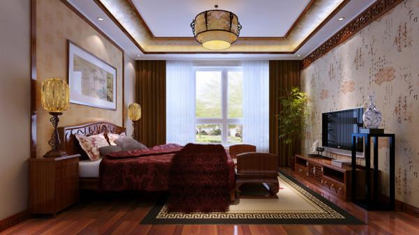 """中式画与中式植物以及中式的墙纸,突出中式 家居装修风格的""""雅"""",红木家具与顶面中式花格的搭配,突出中式家居装修风格的""""韵""""。"""