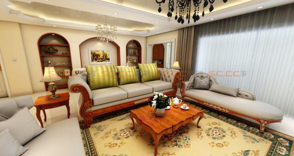 客厅,超长的躺椅沙发