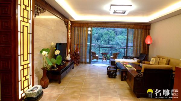 名雕装饰设计——鸿景翠峰——典雅三居室——现代中式——客厅远景