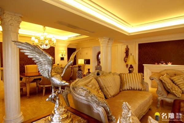 名雕装饰设计—中信红树湾—简欧四居室—欧式沙发家私