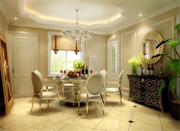 设计理念:餐厅与厨房相邻,吊顶与客厅相呼应,墙面满贴壁纸。以淡黄色为主色调。 亮点:餐桌选择上以金色为主,餐边柜亦加入金色元素以呼应。