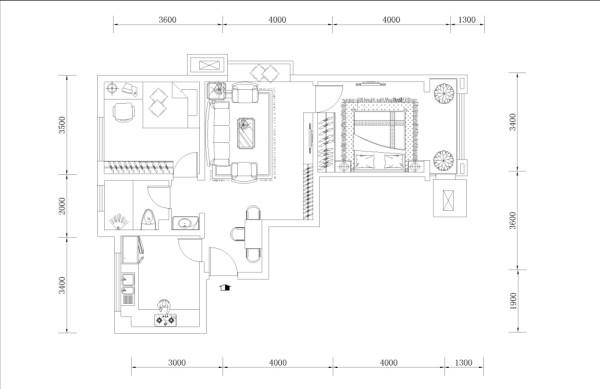 入户门的右手边是餐厅的位置,然后往里走是客厅沙发的位置,对面是电视背景墙的位置。客厅挎着一个飘台。然后客厅的右手边是主卧室的空间,主卧室有一个落地的阳台。