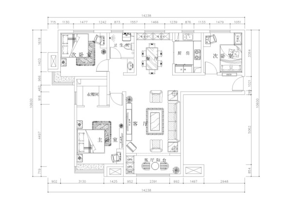 入户门进去左手边是客厅和阳台位置,再过来左手边为主卧,再过来是次卧, 次卧过来是卫生间,之后便是餐厅厨房和次卧的位置,主要说下主卧面积本身 比较大,宽敞明亮非常舒适,适合对房子空间有需求的人入住。