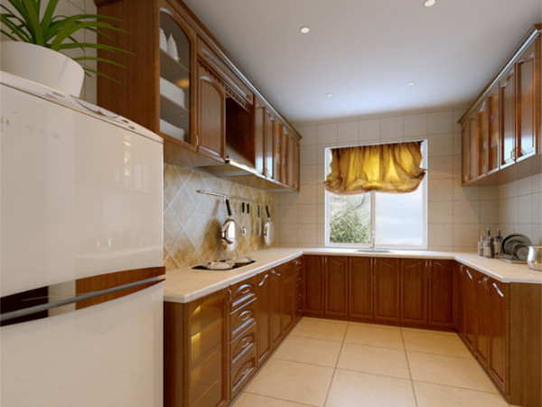 厨房的设计摒弃了客厅,卧室的奢华感,色调以及选用的主材产品都是十分简洁大气,暖色  调的灯光以及整体橱柜,让厨房干净利索而又不失温馨。