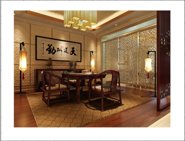 万城华府 800平米 新古典主义风格 茶室设计 混搭中式元素