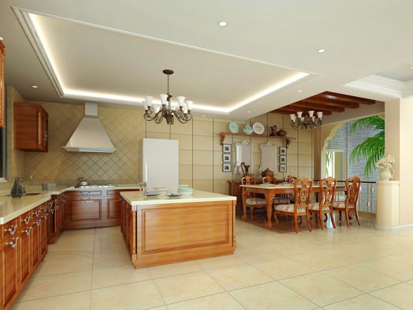 开放式的美式大空间,精美的手工实木流理台橱柜,进口意大利仿古砖与纯手工的实木工艺,凸显美式风格低调奢华