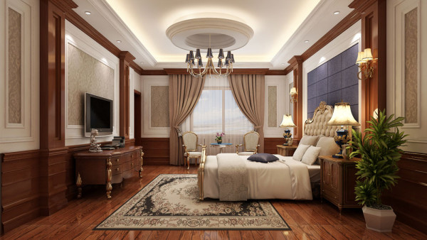 主卧的设计颜色以白色为主,使人在这样的一个休息空间了能够感觉到特别轻松安静