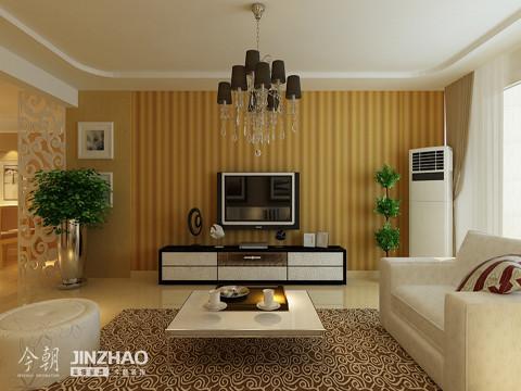 凹凸有致的电视墙,就像窗帘一样,配合着室内盆景与电视柜,显得时尚而个性。