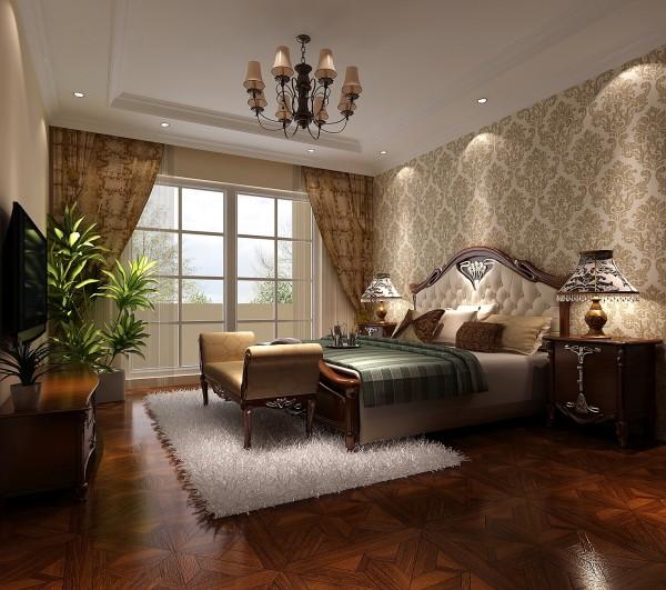主卧室顶部结合了原有的顶面设计出符合整个风格的艺术吊顶,欧式的床头造型,加上暖色的筒灯照明,更营造出西方的生活情调