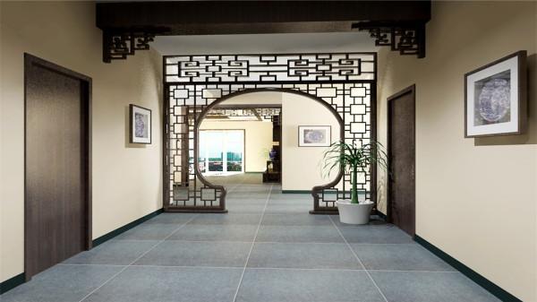 天花以木条相交成方格形,上覆木板 ,也可做简单的环形的灯池吊顶,用实木做框,层次清晰,漆成花梨木色。