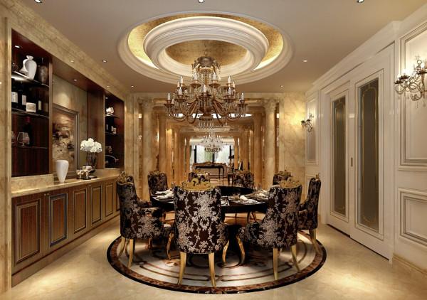 西山壹号院欧式风格设计案例之餐厅