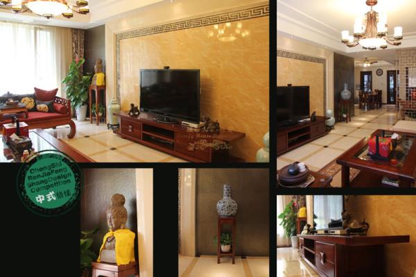 简中式家具,缠枝牡丹纹布艺坐垫的设计,舒适度马上表现出来。