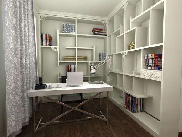 将原有书房跟卧室的墙打通,设计为一体式的主卧兼书房,可以满足主人办公和休息的要求。