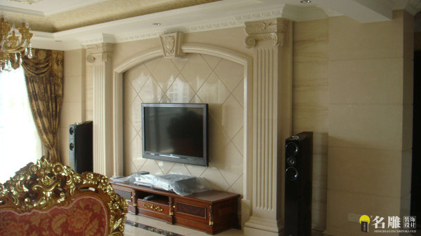 名雕装饰设计—香蜜湖一号华皓阁平层—欧式风格—客厅电视墙