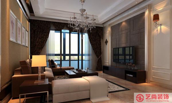 财经学院客厅装修效果图,电视背景墙勾缝处理,稳重色系。