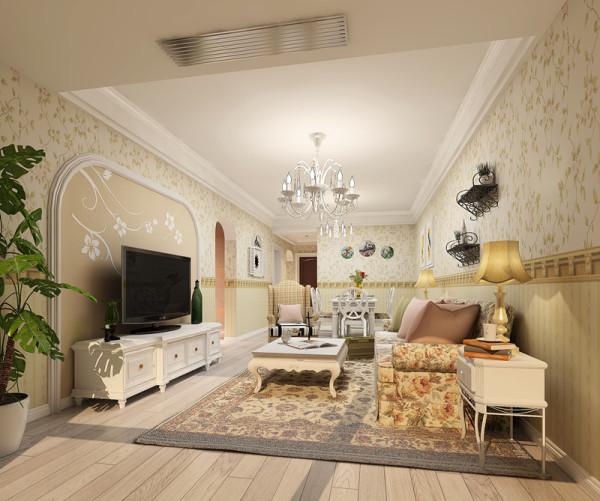 白色的电视柜,全房印花墙纸,搭配具有田园特色的沙发,整个空间清新唯美,电视和沙发的距离恰到好处,看电视看球视觉效果好。