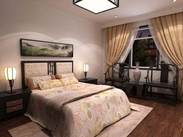 老人房在简约风格的基础上还融入了部分中式元素,像座椅、吊灯,跟老人年代比较接近。