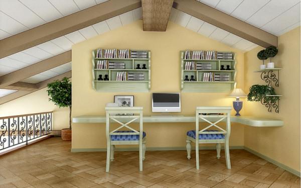 书房色调为清新浅绿色,特别凉快,利用感受夏天的清爽风;墙壁悬挂式的书橱很好的收纳空间,而且充满美感。