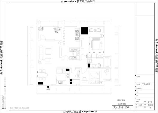 清水湾三居室平面布置图展示