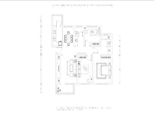 本套户型面积较大,该户型整体布局较为合理,首先从门厅开始,入户以后按顺时针方向,首先映入眼帘的是餐厅,以及过道部分,在这个区域内过道比较长。