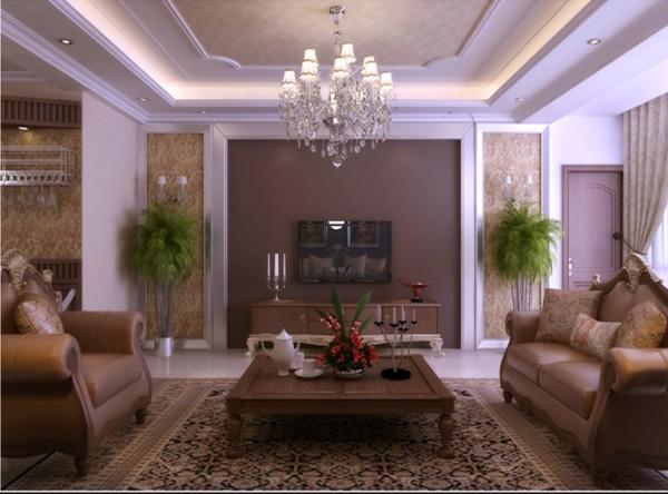 中海嶺湖墅-142平米-欧式古典-客厅装修效果图
