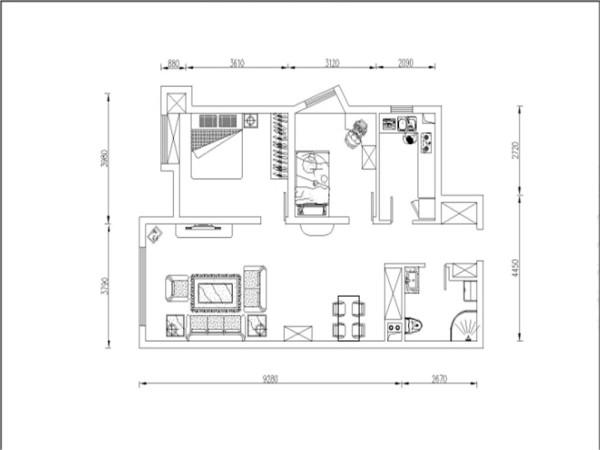 入户门有个小的玄关,餐厅一边是客厅,厨房面积为长方形,厨房呈L型摆设,可供主人的日常烹饪。客餐厅的通风就十分的顺畅,且采光很好。两个卧室面积差不多,主卧次卧功能分布很齐全。户型整体利用率高,居住舒适。