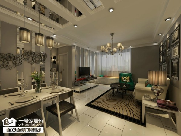本案在平面布局上做了很大调整,强调空间的自然融合。客厅空间讲究精巧丰富,开敞式书吧让空间更加丰富多彩。西厨、中厨都巧妙的利用了空间。