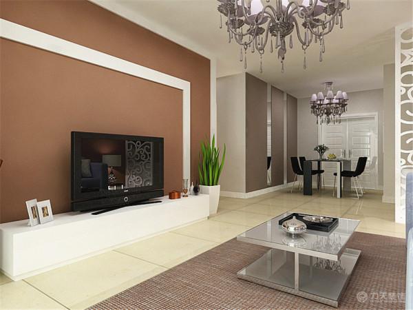电视背景墙采用了两条木质白色混油木质线框作为装饰,内部墙面涂刷了灰度较高的咖啡色墙面漆,更显得稳重时尚,配以绿植更丰富了色彩效果,在强调了对称格局的同时也达到了美观的效果。