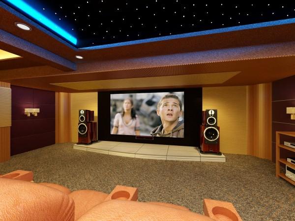 想要专业的家庭影院影音效果就必须在装修的时候设计好隔音、吸音并与周围环境相配合,音箱可以入墙,并搭配一款顶级的透声屏幕。配合智能中控系统可轻松开启天花板背景、空调、室内灯光、投影机电源、音量调节等功能