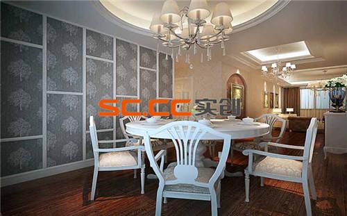 餐厅背景运用欧式实木线条和墙纸的调配,增加了墙面的层次,使之更有韵味