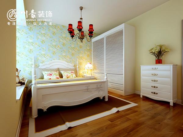 蓝鼎星河府田园风格,卧室效果图,床头背景贴的墙纸。