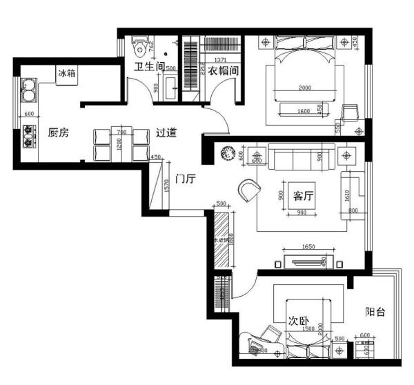 华地公馆-114平米-简约风格-户型图