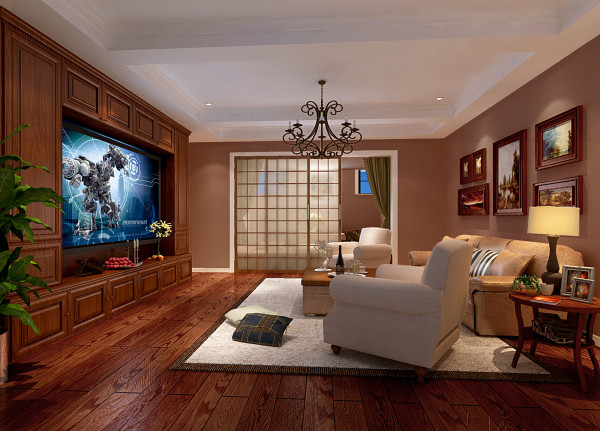 别墅装修优秀作品与您分享:龙湖滟澜山 480平米 美式风格  影音室效果