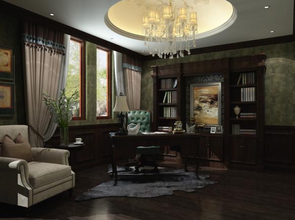 这张是男主人的书房设计效果图。大气,典雅。