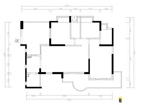 名雕装饰设计凯茵新城天誉168平时尚典雅空间三居室户型图