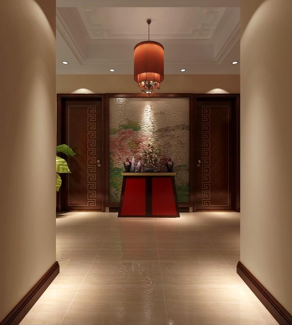整体风格以新中式风格为主,门厅结合次卫与厨房的门来做设计,体现了中式讲究对称的设计元素,马赛克选择花开富贵的牡丹图案,体现整个居室的品质与大气。