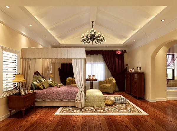 别墅装修优秀作品与您分享:龙湖滟澜山 480平米 美式风格  主卧效果