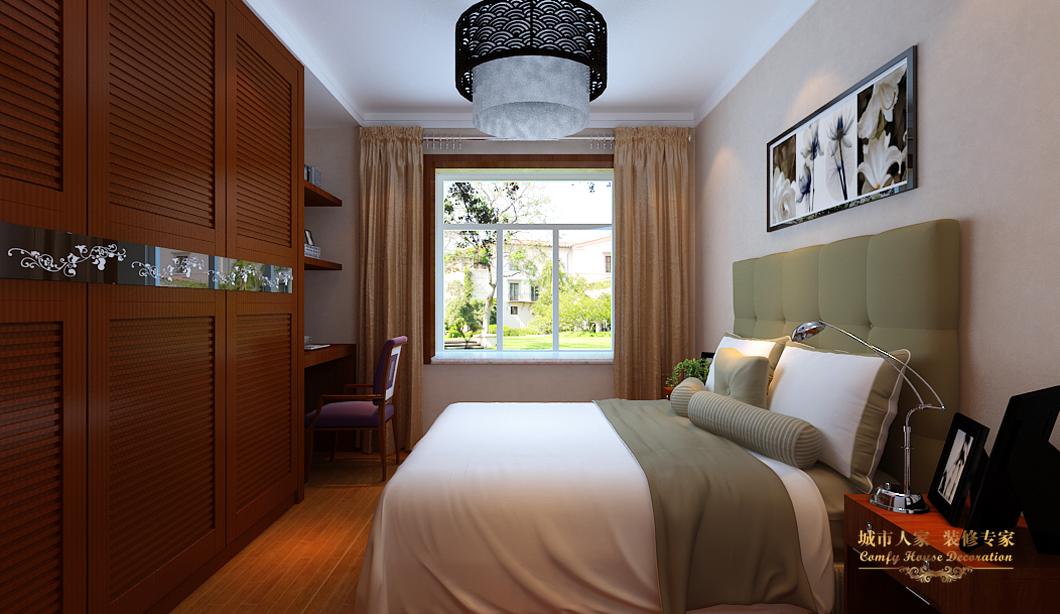 中式城市人家三居设计案例效果图卧室装修效果图片_美图片