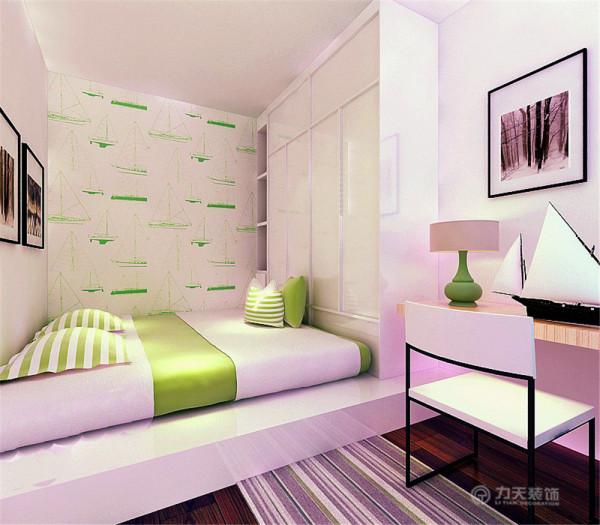 背景墙米色壁纸是空间温馨感更加显著,整体空间温馨简洁。次卧室采用榻榻米及复合木地板整体清新干净