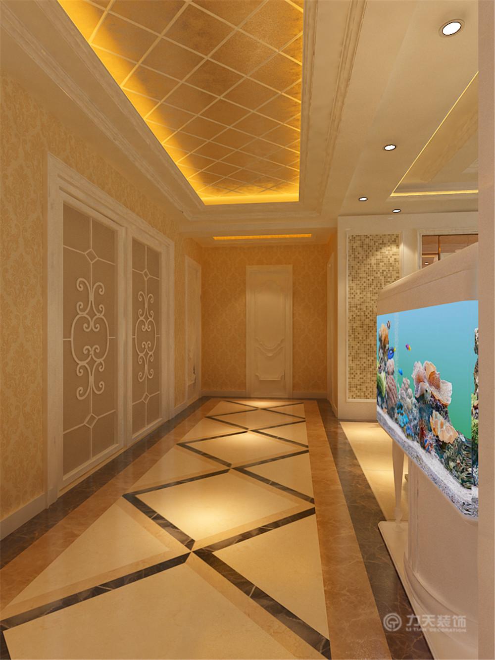 由于过道较长,在地面的设计上采用了大理石拼花的设计,加强了空间感和图片