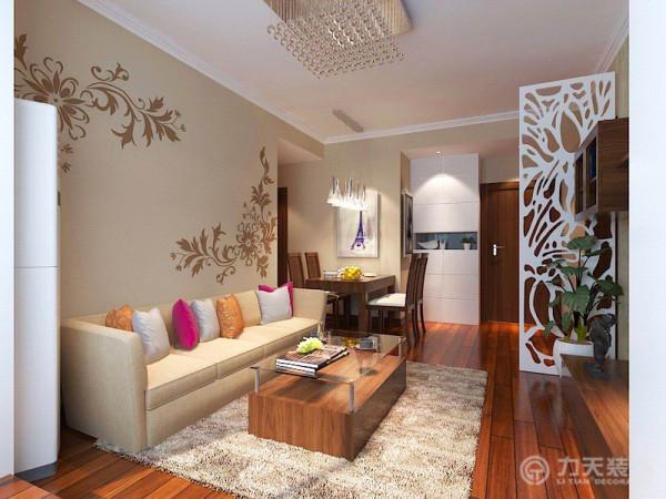 本案在总体上呈现,兼容并蓄的状况。内部运用许多传统代工艺,例如浅咖色的 沙发背景墙,配黄色电视壁纸墙