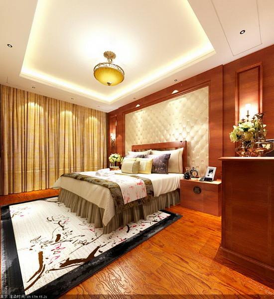主人的卧室床头背景采用软包和木质结合,一软一硬的对比,均和之美得到合适的体现。自然元素的地板配合着中式图案的丝绸床品,静静流淌着的是中式的美。