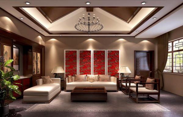 起居室。30万打造私人四合院新中式范