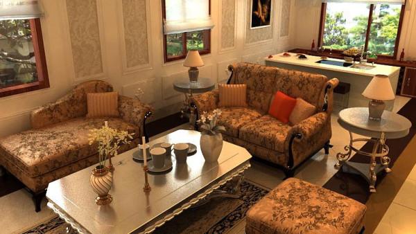在自己的家中,用各种沉重的沙发,繁复的壁画,表明自己的古典主义 情怀。